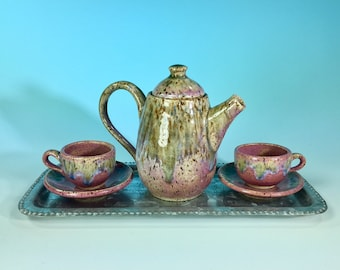 Miniature 6-Piece Ceramic Tea Service with Tray // Glazed in Blue and Pink // For Teddy Bear Tea Parties, Children and Girls- READY TO SHIP