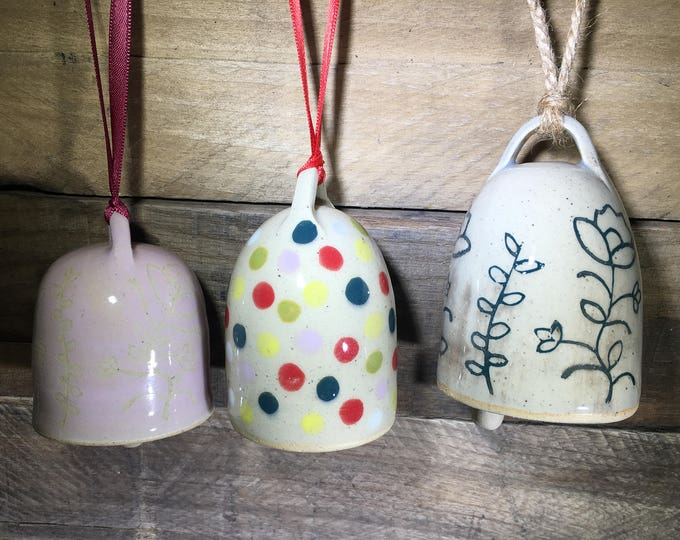Carved Garden Bell, Ornament or Decoration // Handmade Functional Ceramic Bell // Dainty, Gift for Her – READY TO SHIP