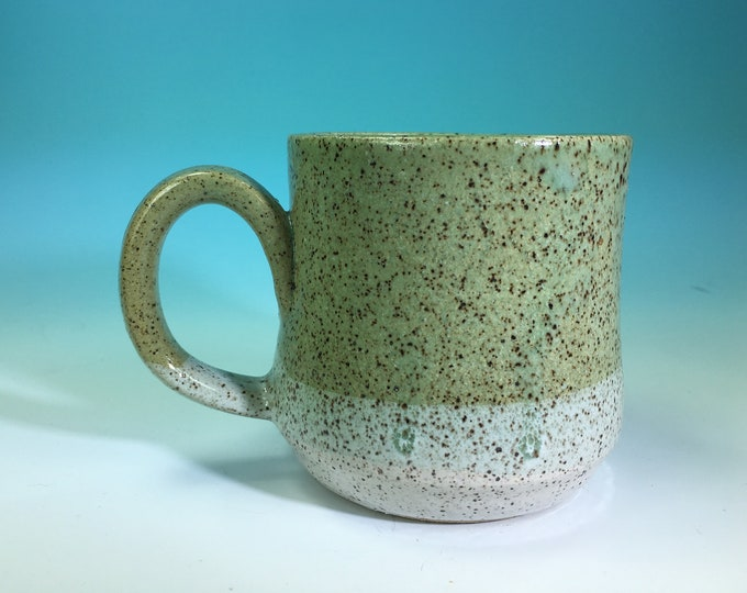 Two-Tone Color Dip Mug in Turquoise and White // Handmade // for Coffee, Cocoa & Tea Lovers // Microwave and Dishwasher Safe - READY TO SHIP