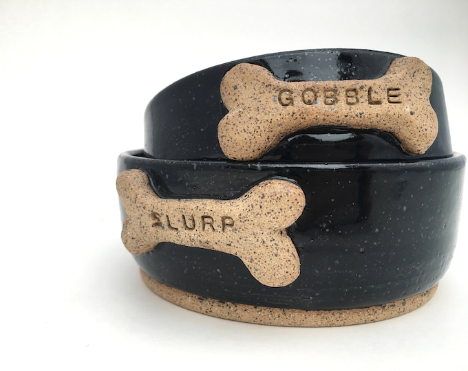 """Black Dog Bowls with """"Gobble"""" and """"Slurp"""" Bone // Small Handmade Dog Food Dish // Gifts for Dogs or Dog Lovers - READY TO SHIP"""