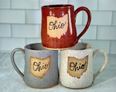 Ohio Mug in Red, White or Gray// Handmade Ceramic Mug // Gifts  for Ohioans, Travelers or College Students - READY TO SHIP