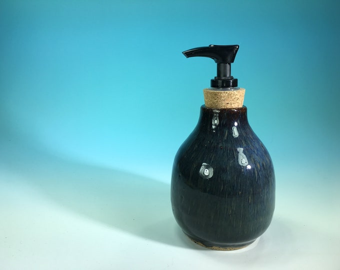 Denim Blue Bottle with Soap Pump Dispenser // Handmade Pottery, Wheel-Thrown // Housewarming or Wedding Gifts - READY TO SHIP