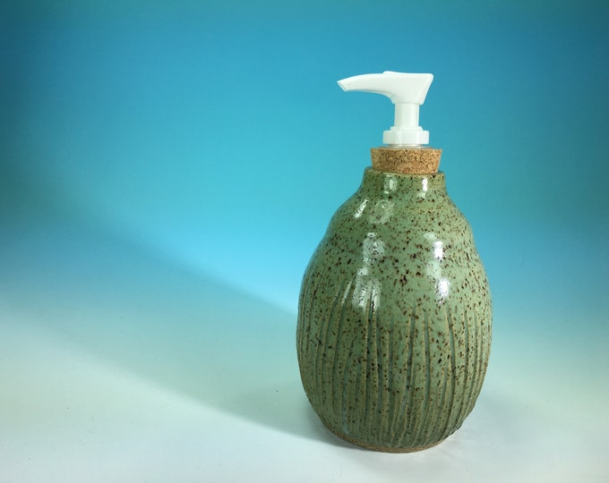 Turquoise Soap Bottle Hand-Carved with Pump Dispenser // Handmade Pottery, Wheel-Thrown // Housewarming or Wedding Gifts - READY TO SHIP