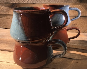 Blue Brown Ceramic Mugs / teacups / little mugs / set of mugs / second quality / sale / discounted- READY TO SHIP