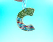 Ornament - C - Ceramic Initial / Alphabet Letter Ornament / Monogram - READY TO SHIP