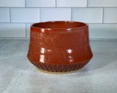 Hand-Carved Cinnamon Red Planter with Drainage // Wheel-thrown Planter // Handmade Ceramic Flower Pot // Spring // Summer - READY TO SHIP