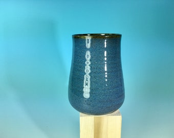 Small blue vase / tumbler / wheel thrown 16 oz cup or vase  - READY TO SHIP