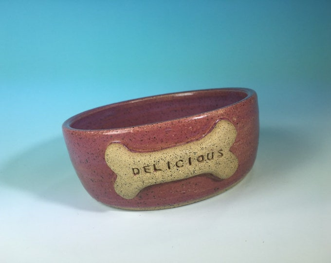 """Pink Dog Bowl with """"Delicious"""" Bone // Large Handmade Dog Food Dish // Gifts for Dogs or Dog Lovers - READY TO SHIP"""