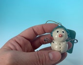 Miniature Snowman Ornament // 2nd Quality - Discounted // Sculpted ceramic snowman – READY TO SHIP