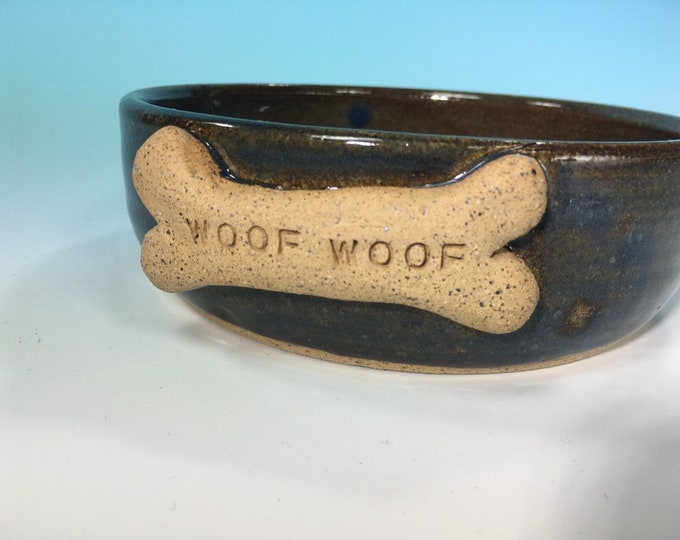 """Denim Blue Dog Bowl with """"Woof Woof"""" Bone // Medium Handmade Dog Food Dish // Gifts for Dogs or Dog Lovers - READY TO SHIP"""