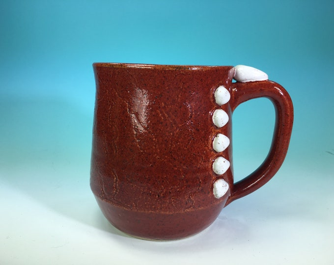 Handmade Ceramic Mug with Button and Fabric Detail in Red White // For Quilters or Sewers // Microwave and Dishwasher Safe - READY TO SHIP