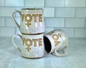 Vote Women Mug / Feminism Mug / Venus Symbol / Handmade Pottery / Feminist Gifts / Girl Power mugs - READY TO SHIP