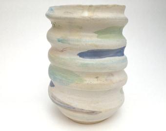 Vase - Spiral White w/Brushstrokes / Wheel Thrown Vase - READY TO SHIP