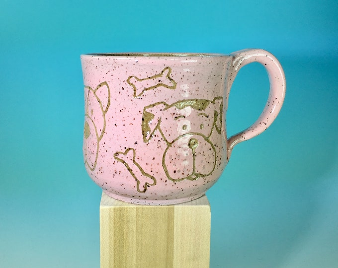 Dog Doodle Mug // Handmade Ceramic Mug with Carved Puppies in Bright Colors // Gifts for Dog Lovers - READY TO SHIP