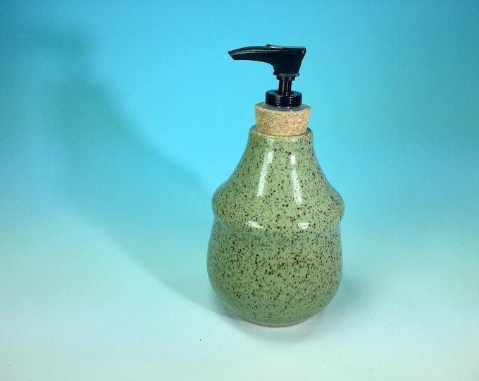 Turquoise Bottle with Soap Pump Dispenser // Handmade Pottery, Wheel-Thrown // Housewarming or Wedding Gifts - READY TO SHIP