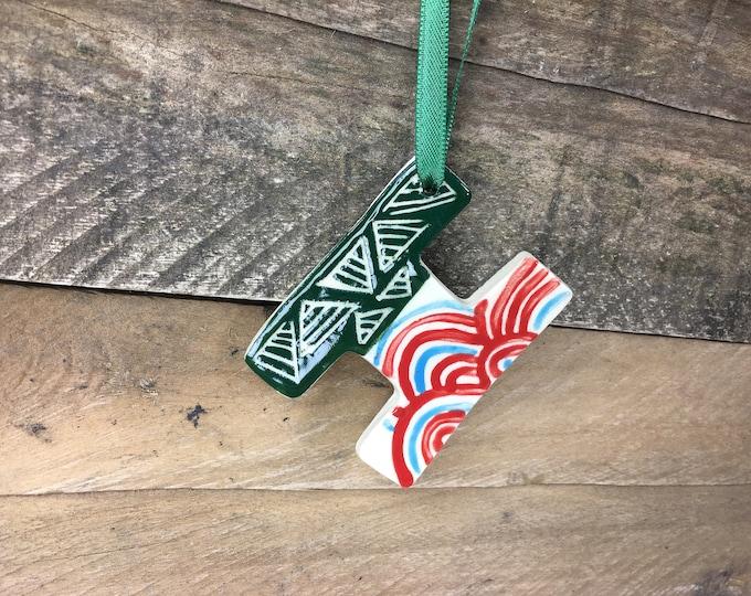 Ornament - H or I - Ceramic Initial / Alphabet Letter Ornament / Monogram - READY TO SHIP