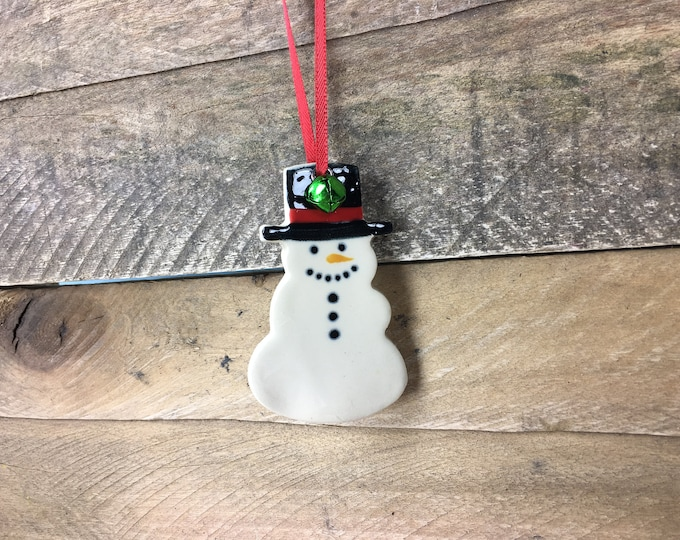 Snowman Ornament - Ceramic Christmas Ornament - Frosty - Customizable - Personalize it free! – READY TO SHIP