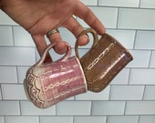 Pink and Lavender Demitasse or Kids Mugs with Carved Detail // Valentines Day // Hearts // Love // Wheel-Thrown - READY TO SHIP