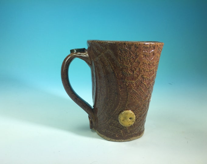 Handmade Ceramic Mug with Button and Fabric Detail Various Colors // For Quilters or Sewers // Microwave and Dishwasher Safe - READY TO SHIP