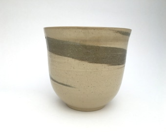 Vase - Swirled Celadon Vase or Planter / Speckled Brown Clay with Celadon Swirl / Wheel Thrown Vase - READY TO SHIP