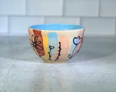 Small ice cream bowl with brush stroke and floral design in spring colors // spring floral bowl - READY TO SHIP