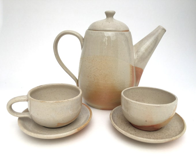 Handmade Tea Set, Wood-Fired Pottery in Cream with Brown Flashing // Tea Service for Two // Functional Ceramic Tea Set - READY TO SHIP