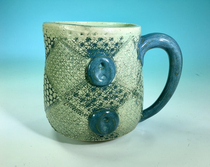 Knit Fabric and Buttons Mug in Turquoise // Handcrafted Pottery w Fabric Detail // Gifts for Quilters, Knitters and Sewers - READY TO SHIP