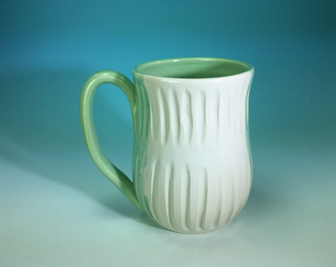 Hand-Carved Ceramic Mug in White and Turquoise // xl 16oz // for Coffee, Cocoa & Tea Lovers // Microwave and Dishwasher Safe - READY TO SHIP