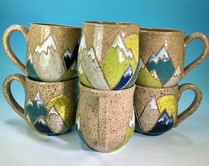 Mountains Mug // Hand-Carved Mug, Brightly Colored Mountain and Sun Mug // Handmade Ceramic Mug // Spring // Pride // Love - READY TO SHIP