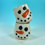 Snowman tumblers // wheel-thrown winter snowman juice, wine or whiskey cups with sculpted detail // winter Christmas - READY TO SHIP