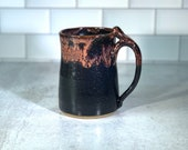 Handmade Coffee Mug or Beer Stein // black and red drip tall mug // Handmade Pottery // Wheel-Thrown - READY TO SHIP