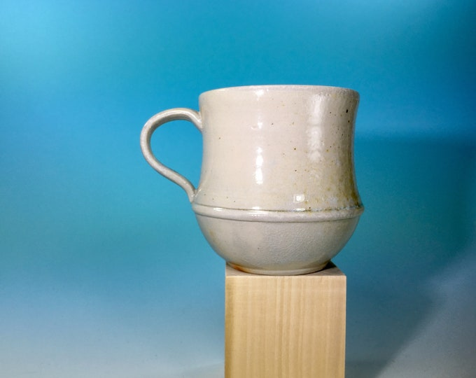 Handmade Curvy Mug in White // Wood-Fired Pottery // for Coffee, Cocoa & Tea Lovers // Microwave and Dishwasher Safe - READY TO SHIP