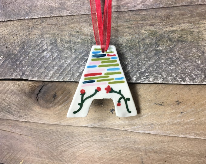 Ornament - A - Ceramic Initial  / Alphabet Letter Ornament / Monogram - READY TO SHIP