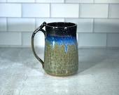 Handmade Coffee Mug or Beer Stein // blue and black drip tall mug // Handmade Pottery // Wheel-Thrown - READY TO SHIP