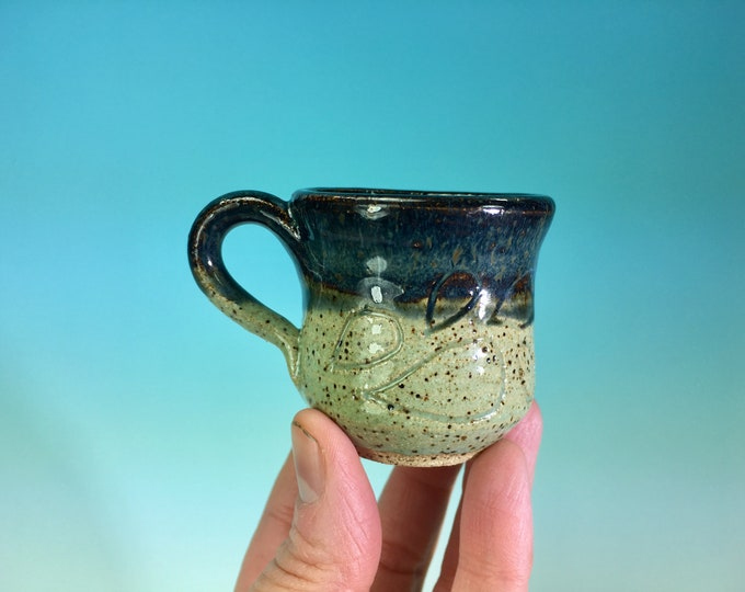 Miniature Carved Mug or Shot Glass // January Miniature Pottery of the Month // Tiny Pots, Mugs, Bowls, Jars and Cups  - READY TO SHIP