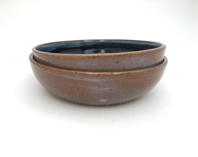 Blue and Black Pet Bowls // Medium Handmade Dog or Cat Food Dish // Gifts for Dogs, Cats or Pet Lovers - READY TO SHIP