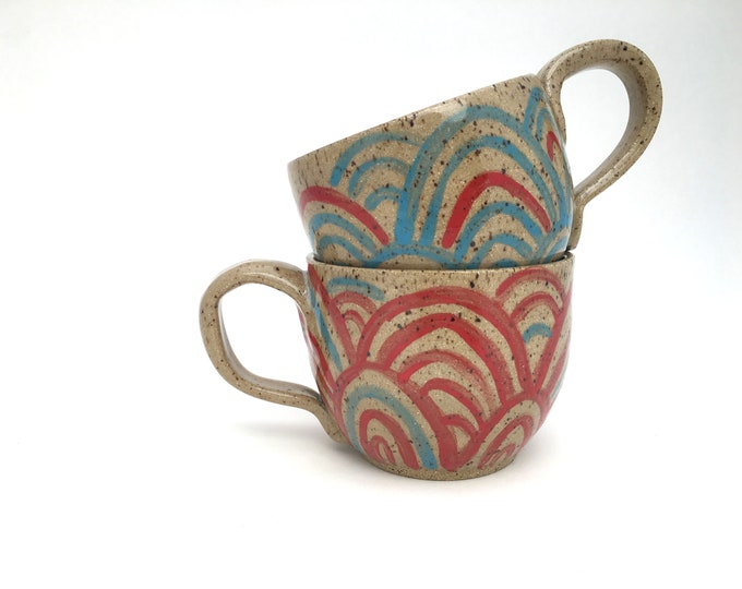 Hand-painted Latte-Style Mug with Swirls and Scallops // for Coffee, Cocoa & Tea Lovers // Microwave and Dishwasher Safe - READY TO SHIP