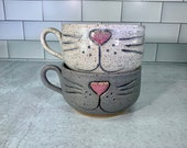 Cat Face Mug // Latte Style Mug with Carved Cat Face Design // Cat KItten // Handmade Pottery, Red and White // Wheel-Thrown - READY TO SHIP