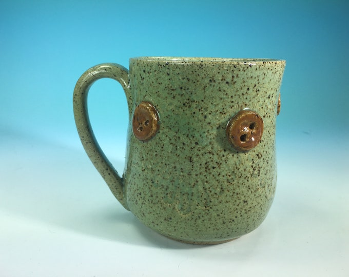 Handmade Ceramic Mug with Button and Fabric Detail in Green/Teal // For Quilters or Sewers // Microwave and Dishwasher Safe - READY TO SHIP