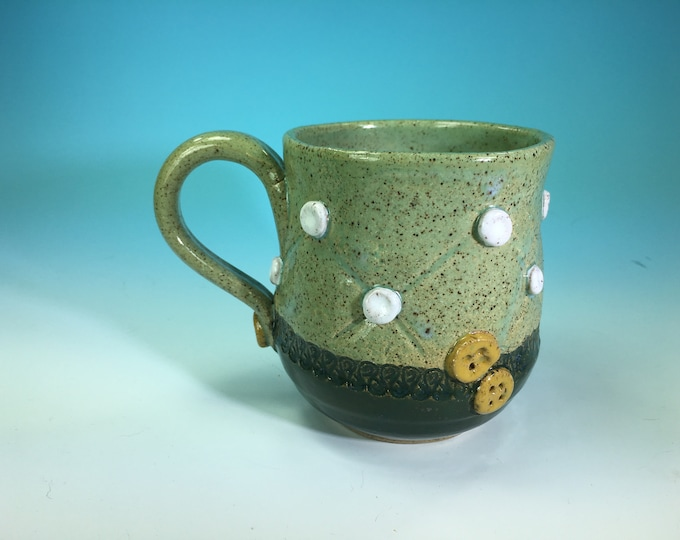Handmade Ceramic Mug with Button and Fabric Detail in Green // For Quilters or Sewers // Microwave and Dishwasher Safe - READY TO SHIP