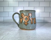 Vote Trans Mug / Transgender Mug / Transgender Symbol / Handmade Pottery / LGBTQIA Gifts / LGBTQIA mugs - Ready to Ship