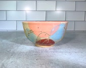 Small ice cream bowl with bird design in spring colors // spring floral bowl - READY TO SHIP