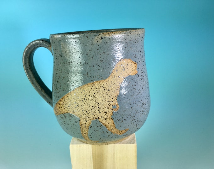 Dinosaur Silhouette Mug in Matte Gray // Handmade Mug with T-Rex Silhouette // Gifts for Geeks, Historians, Dinosaur Lovers  - READY TO SHIP