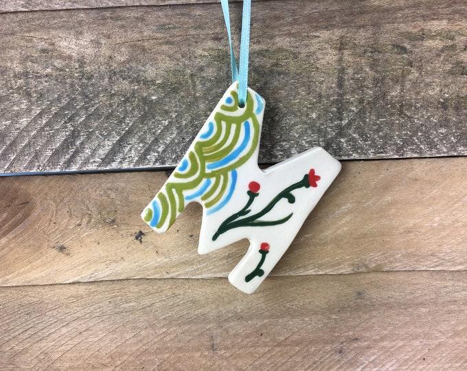Ornament - M - Ceramic Initial / Alphabet Letter Ornament / Monogram  - READY TO SHIP