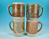 Tall Lace Wood-fired Mugs // Wood-fired ceramic mugs  // for Coffee, Cocoa & Tea Lovers // Microwave and Dishwasher Safe - READY TO SHIP