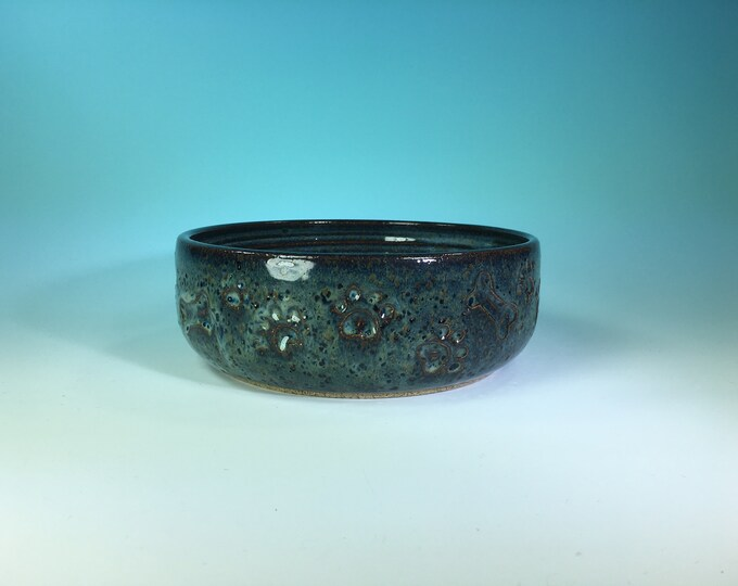 Denim Blue Dog Bowl with Hand-Carved Paws and Bone // Large Handmade Dog Food Dish // Gifts for Dogs or Dog Lovers - READY TO SHIP