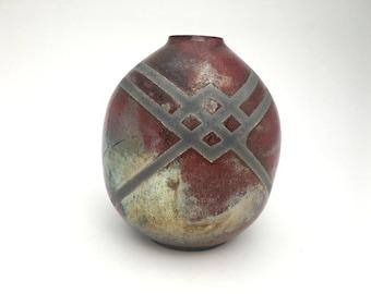 Vase - Maroon Raku / Jar / Wheel Thrown Vase - READY TO SHIP