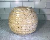 Handmade White Swirl Vase with Brown Speckles // Wheel-thrown Flower Vase // Handmade Vase // Spring // Summer - READY TO SHIP