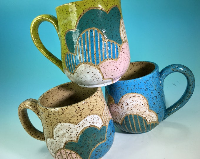 Clouds Mug // Hand-Carved Mug, Brightly Colored Cloud Mug, Various Colors // Handmade Ceramic Mug // Spring // Pride // Love - READY TO SHIP