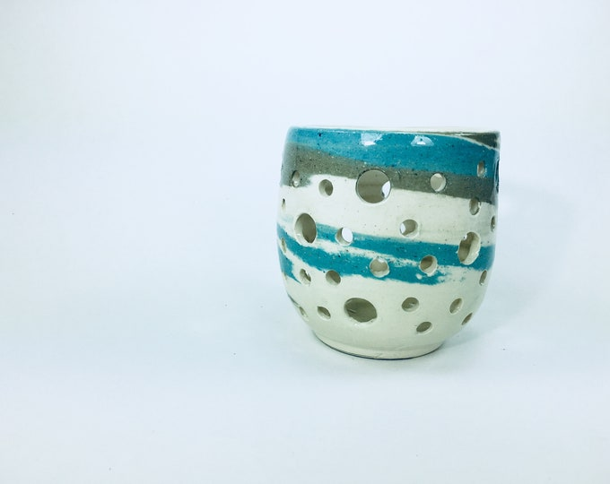 Handmade Ceramic Candle Holder in Blue and White Swirl // Gifts for Her, Housewarming, Valentines Day, Birthdays or Weddings - READY TO SHIP